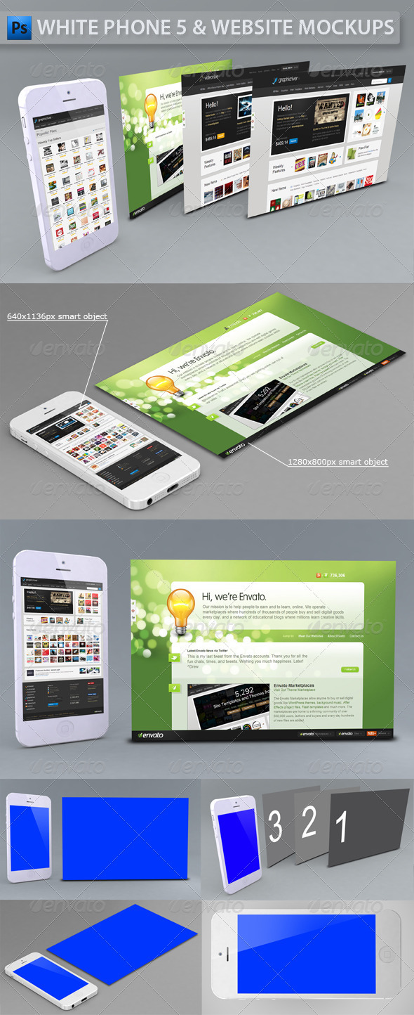 White Phone 5 and Website | App Mockup - Multiple Displays