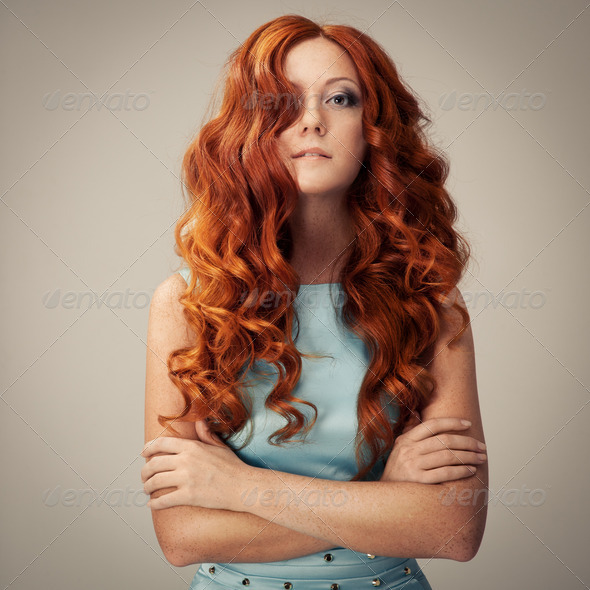 Beauty Portrait. Curly Hair - Stock Photo - Images