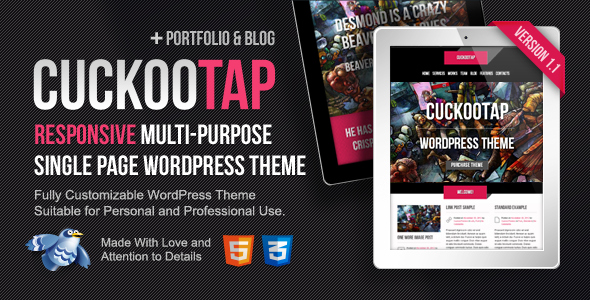 ThemeForest CuckooTap Responsive Single Page WordPress Theme WordPress Corporate Business 3512405