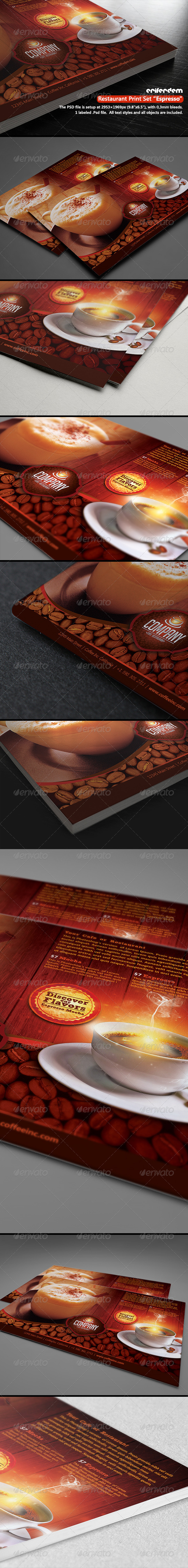 GraphicRiver Restaurant Print Set Espresso 3572490