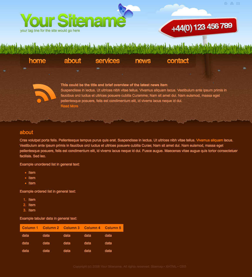 Subterranean - Creative Corporate Or Freelance Site - About page of the site, showing a general text page and coded examples of lists and tables.