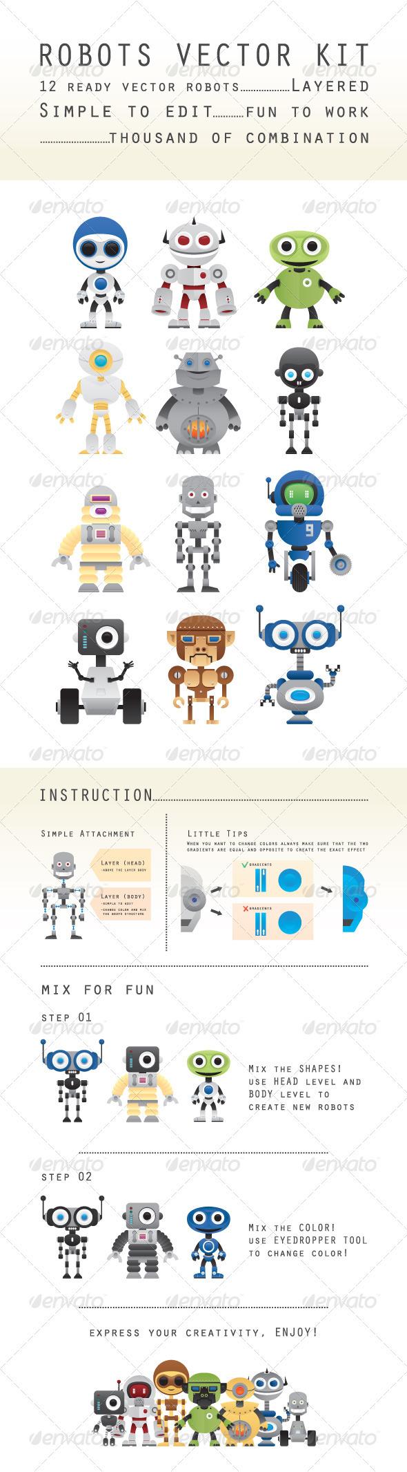 GraphicRiver Robots Vectors Kit 3572711
