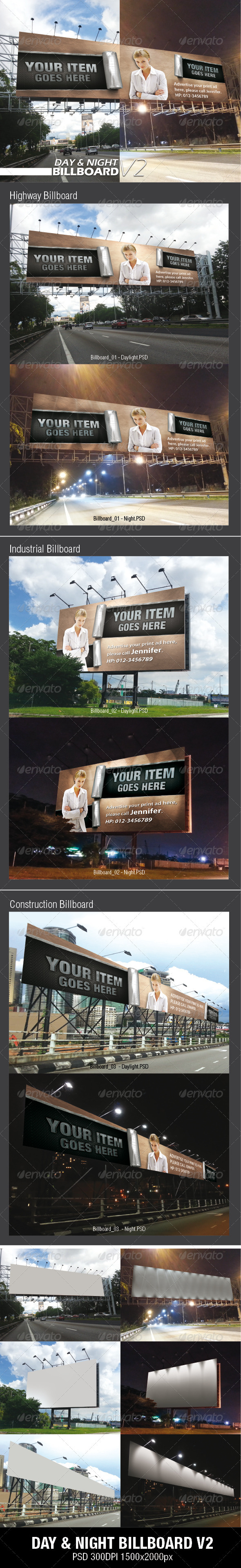 GraphicRiver Day & Night Billbaord V2 Mock-ups 3542810