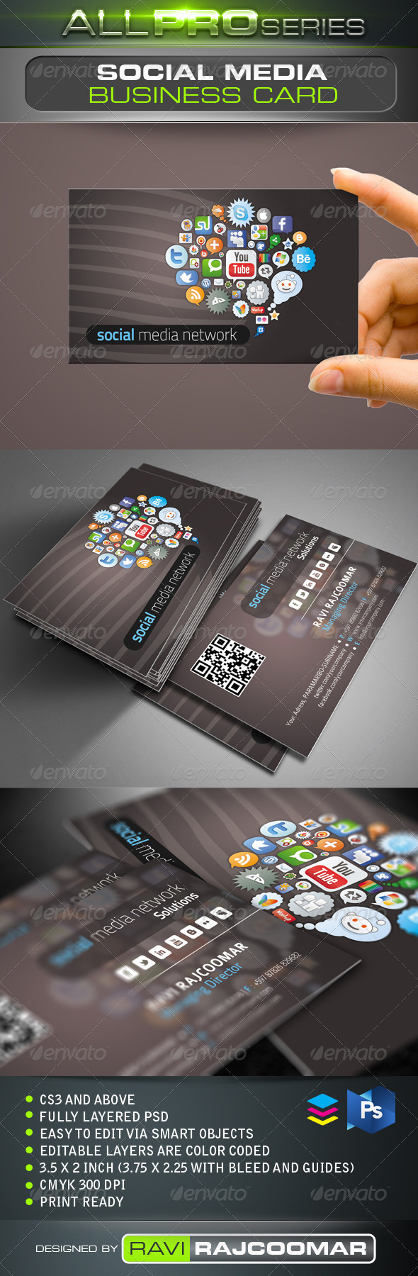 GraphicRiver Social Media Network Business Card 3572952