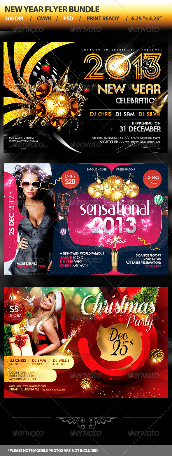 GraphicRiver New Year Party Flyers Bundle 3573130