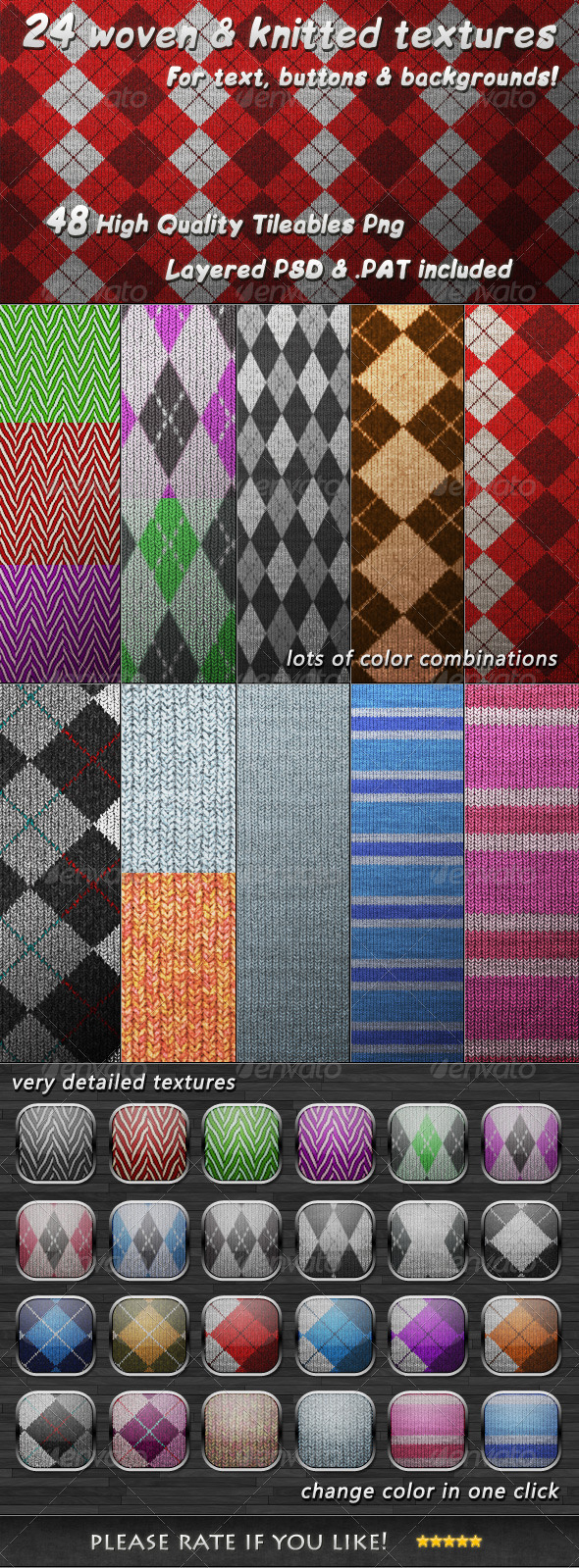GraphicRiver 24 Tileable Woven & Knitted Textures 3573932