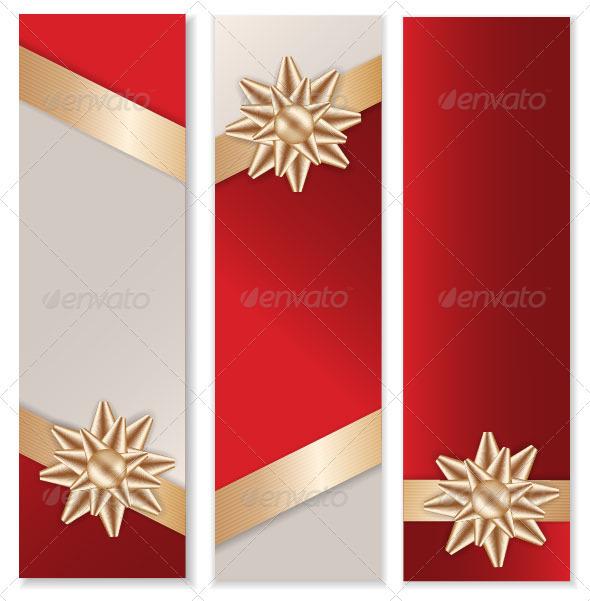 GraphicRiver Golden Bow Banner Set 3574392