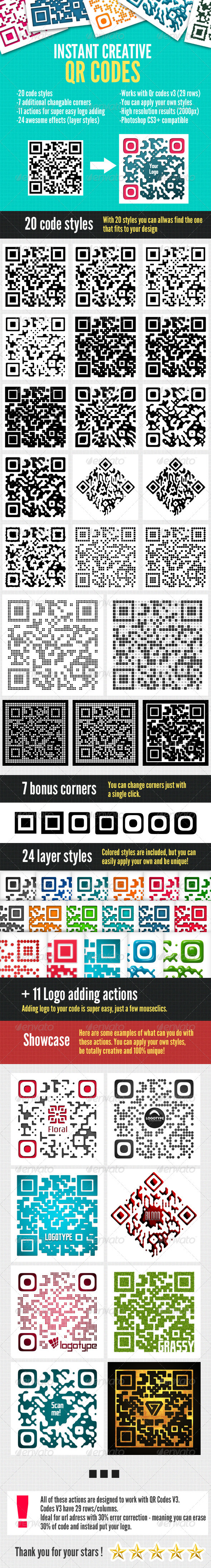 Instant QR Code Designs - Photoshop Actions - Utilities Actions