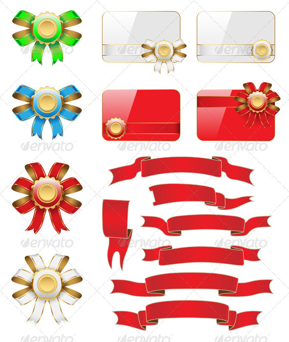 GraphicRiver Bow Flag Card Set 3574993