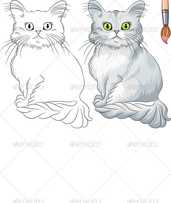 GraphicRiver Vector Coloring Book of Tiffany cat 3575253
