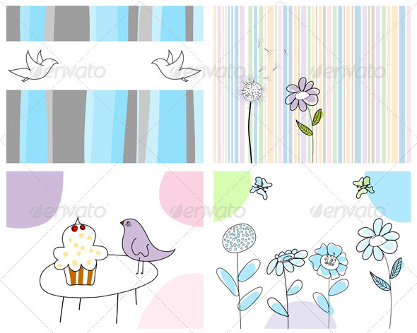 GraphicRiver Sketched Greeting Card Set 3551402
