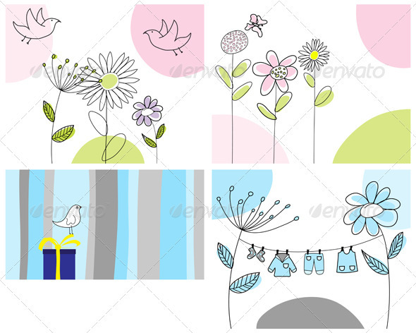 GraphicRiver Sketched Greeting Card Set 3551404