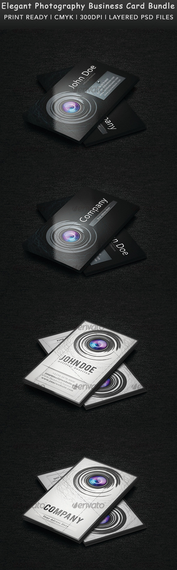 GraphicRiver Elegant Photography Business Card Bundle 3575742