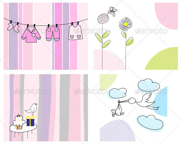 GraphicRiver Sketched Greeting Card Set 3551411