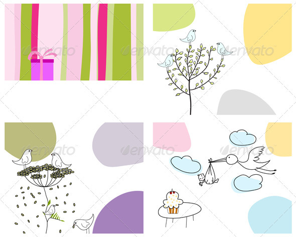 GraphicRiver Sketched Greeting Card Set 3551426