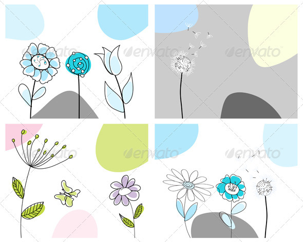 GraphicRiver Sketched Greeting Card Set 3551463