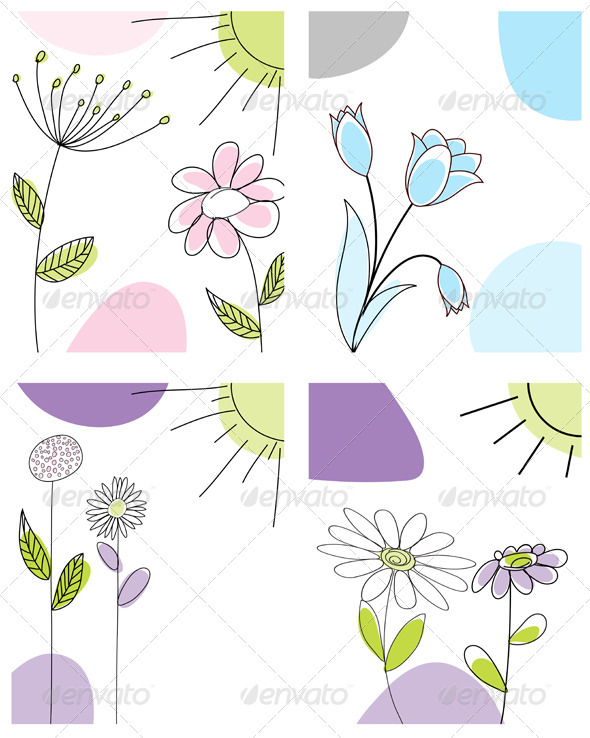 GraphicRiver Sketched Greeting Card Set 3551464