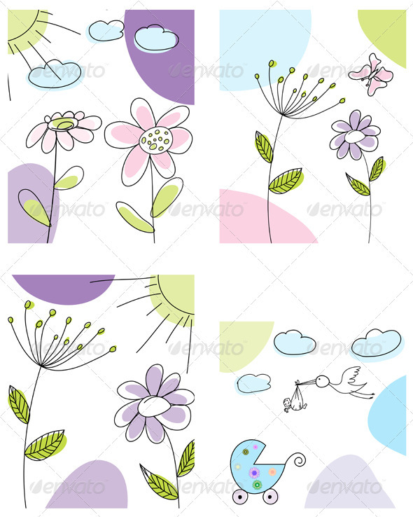 GraphicRiver Sketched Greeting Card Set 3551467