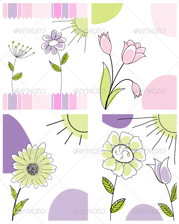 GraphicRiver Sketched Greeting Card Set 3551469