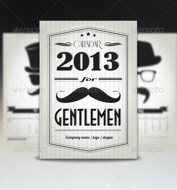 GraphicRiver Retro Calendar for Gentlemen 3575999
