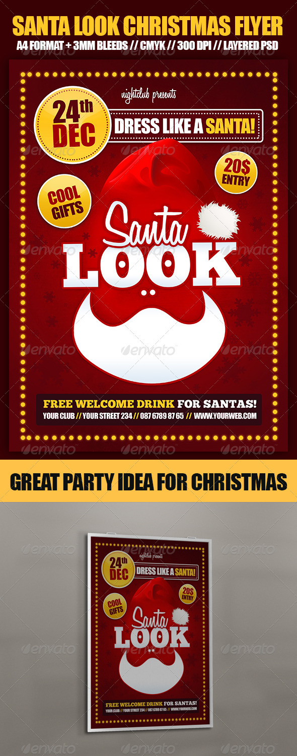GraphicRiver Santa Look Christmas Party Flyer 3576159