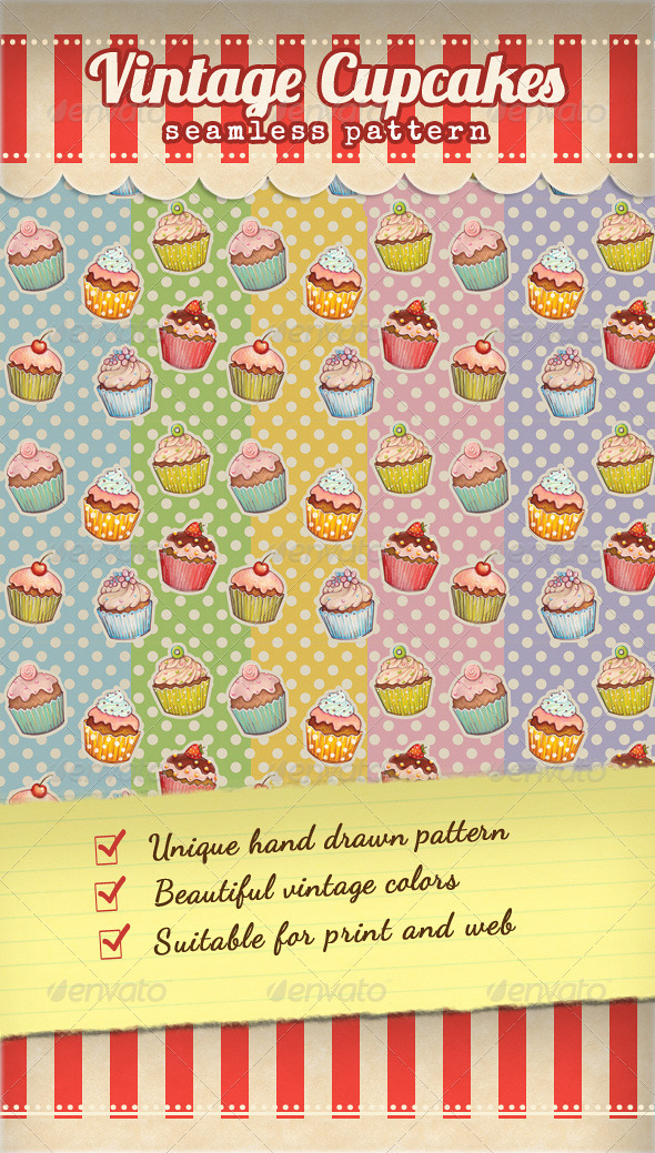 GraphicRiver Vintage Cupcake Pattern 3576162