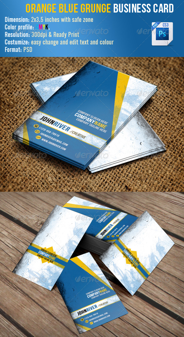 Orange Blue Grunge - Grunge Business Cards