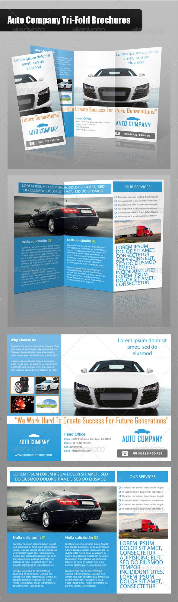 GraphicRiver Auto Company Tri-Fold Brochure 3576514