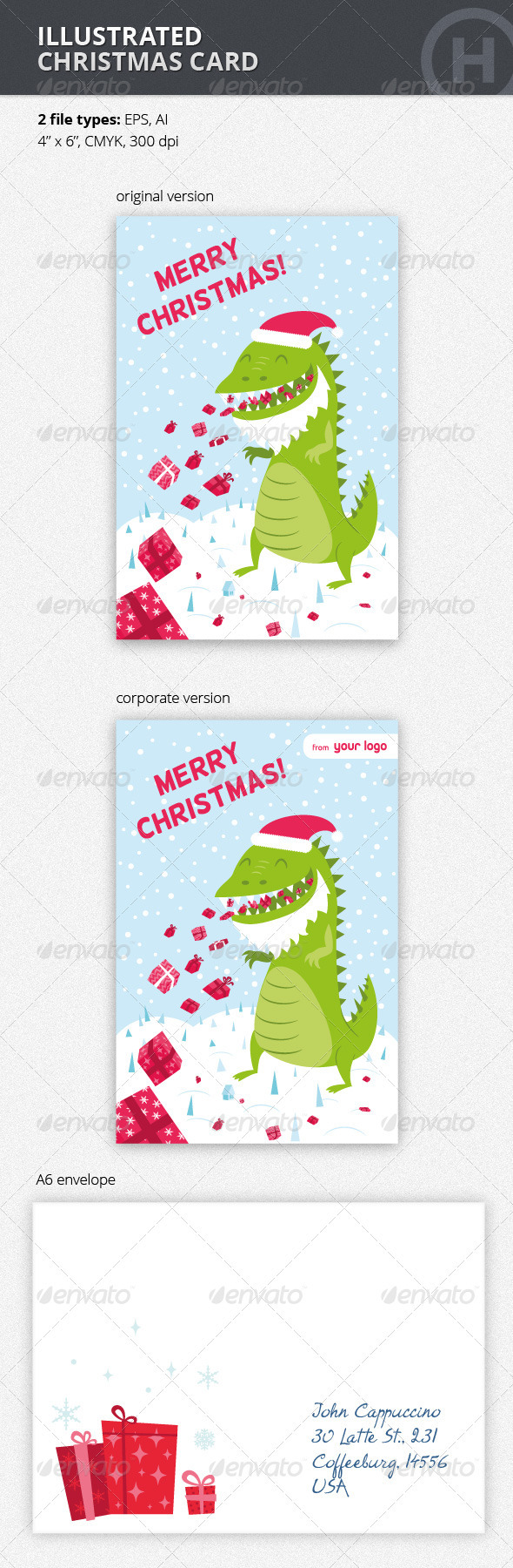 Illustrated Christmas Card with Godzilla