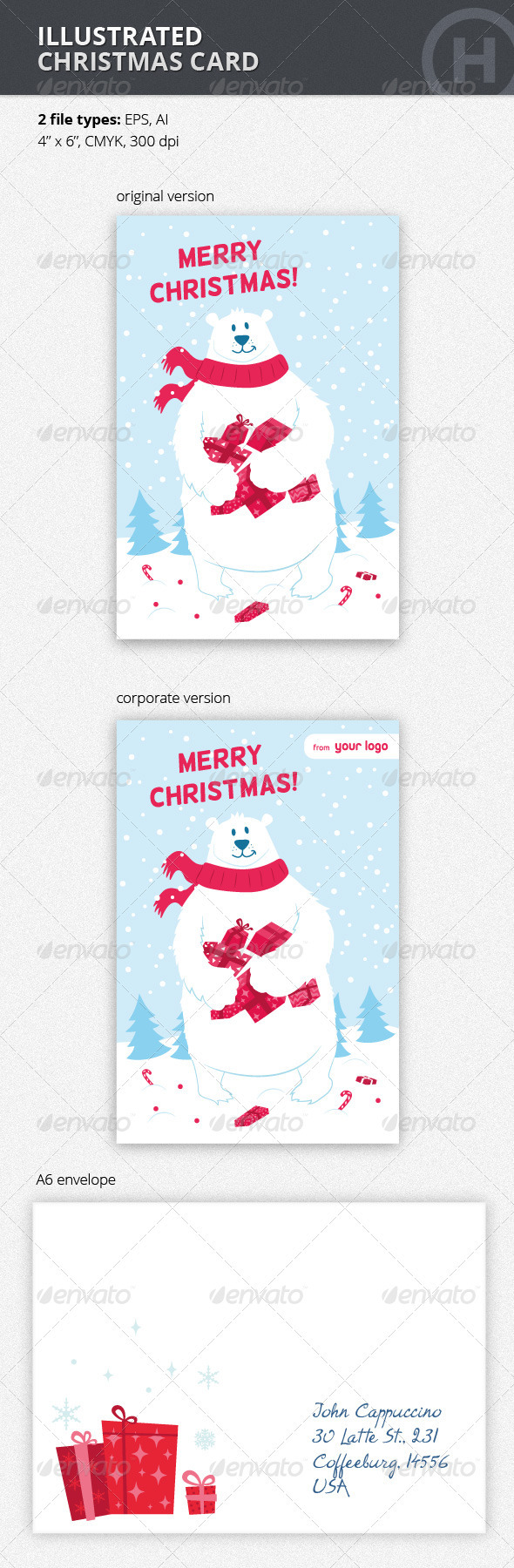 Illustrated Christmas Card with Polar Bear - Holiday Greeting Cards