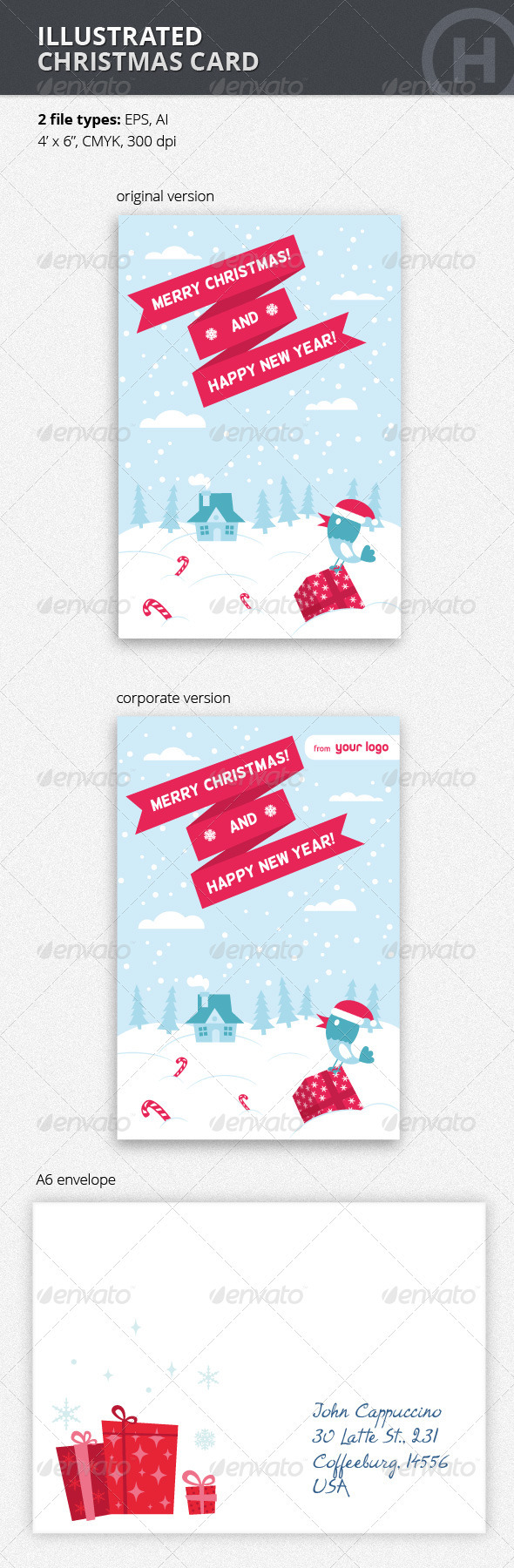 GraphicRiver Illustrated Christmas Card with Bird 3576637