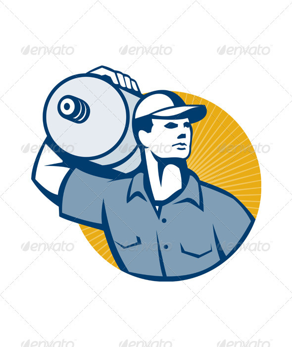 GraphicRiver Delivery Worker Carrying Water Jug Retro 3576690
