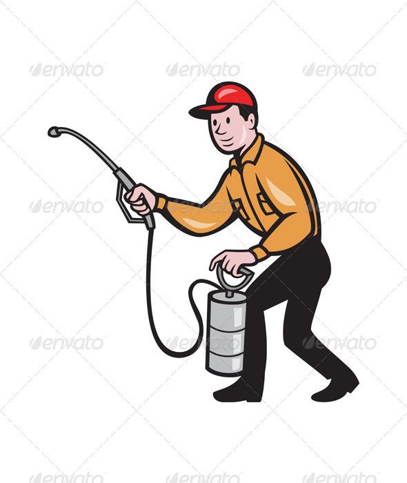 GraphicRiver Pest Control Exterminator Worker Spraying Cartoon 3576811