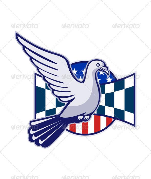 Racing Pigeon Race Flag American Stars Stripes