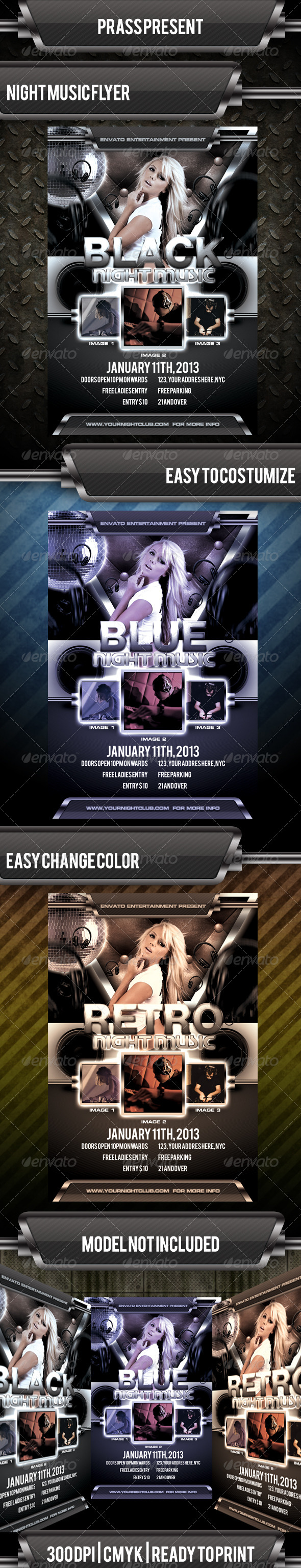 GraphicRiver Black Night Music Flyer Template 3540253