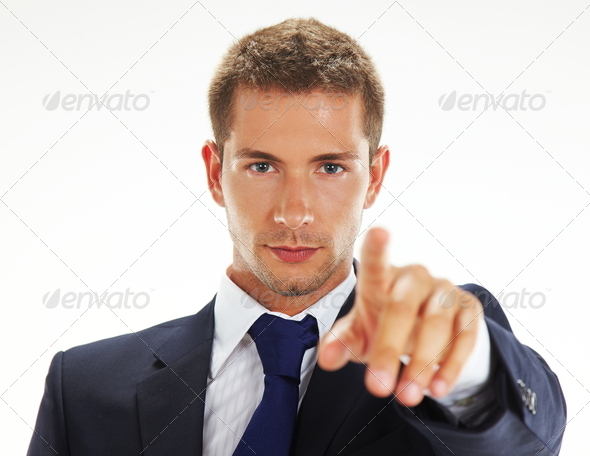 Businessman pointing at you - Stock Photo - Images
