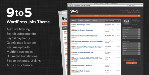 ThemeForest Nine to Five Premium WordPress Jobs Theme 137052