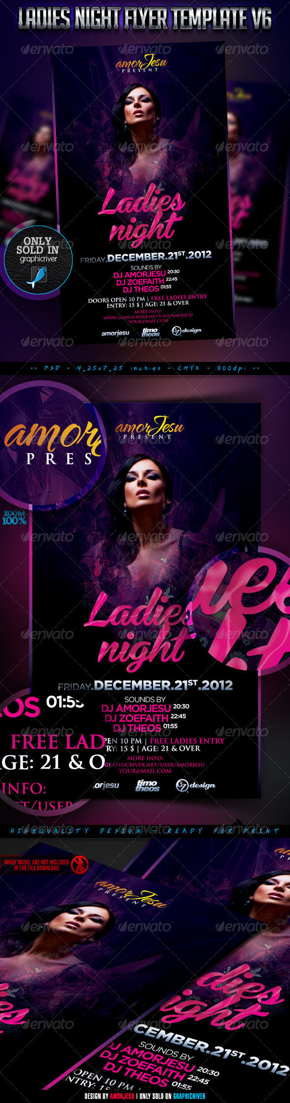Ladies Night Flyer Template V6 - Clubs & Parties Events