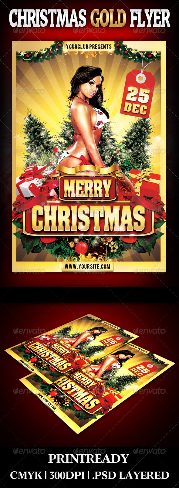 GraphicRiver Christmas Gold Flyer 3578749