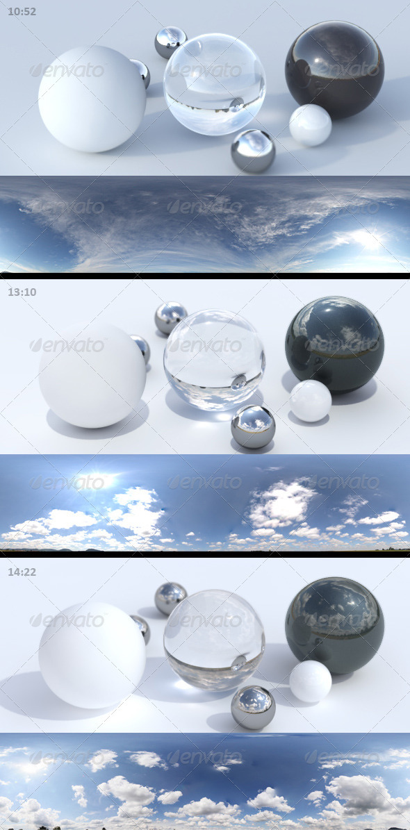 3DOcean 3er HDRI sky pack 04 sunny daylight clouds 3578924