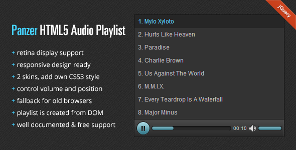 CodeCanyon Panzer HTML5 Audio Playlist 3058109