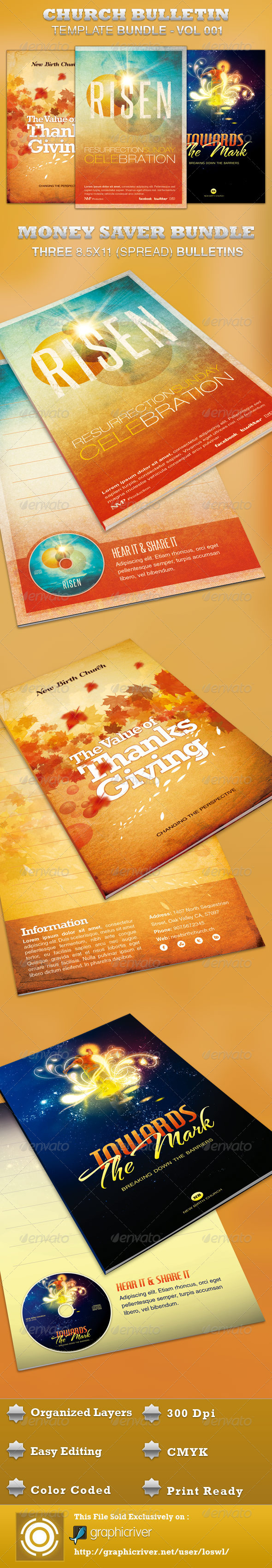 Church Bulletin Template Bundle-Vol 001 - Informational Brochures