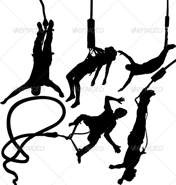GraphicRiver Bungee Jumper Silhouettes 3581812