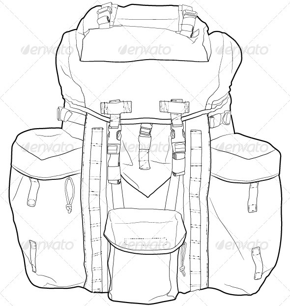GraphicRiver Military Hiking Backpack Outline 3581856