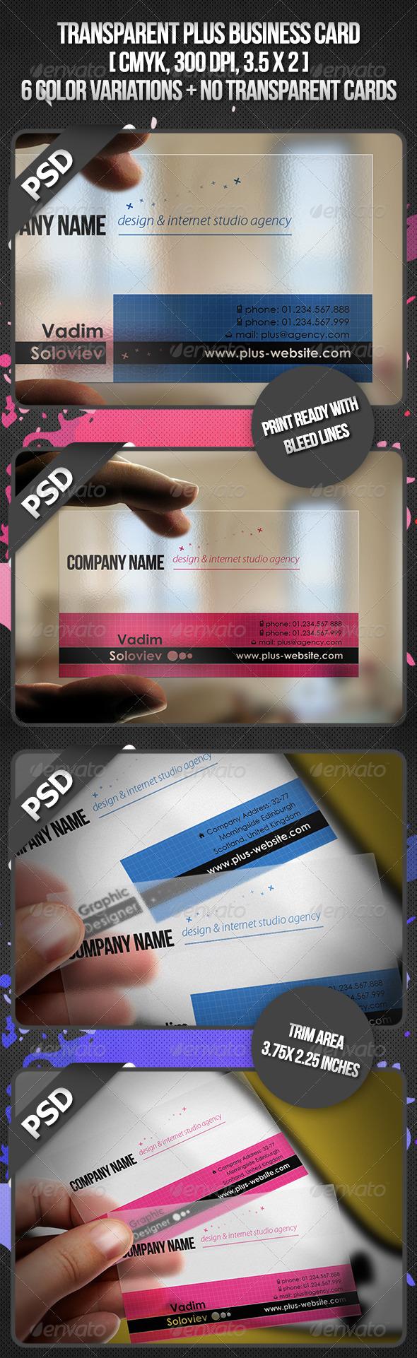 GraphicRiver Transparent Plus Business Card 3582222