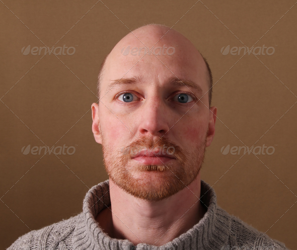 portrait man beard bald - Stock Photo - Images