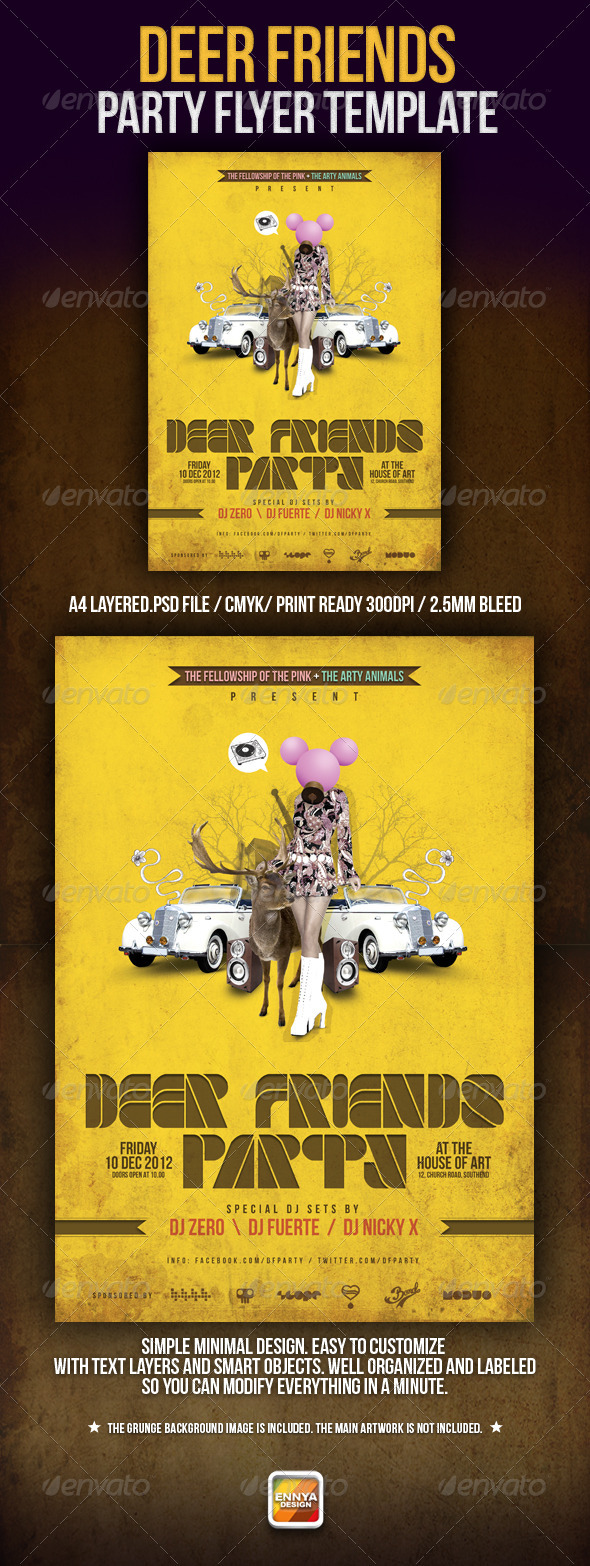 GraphicRiver Deer Friends Party Template 3376079