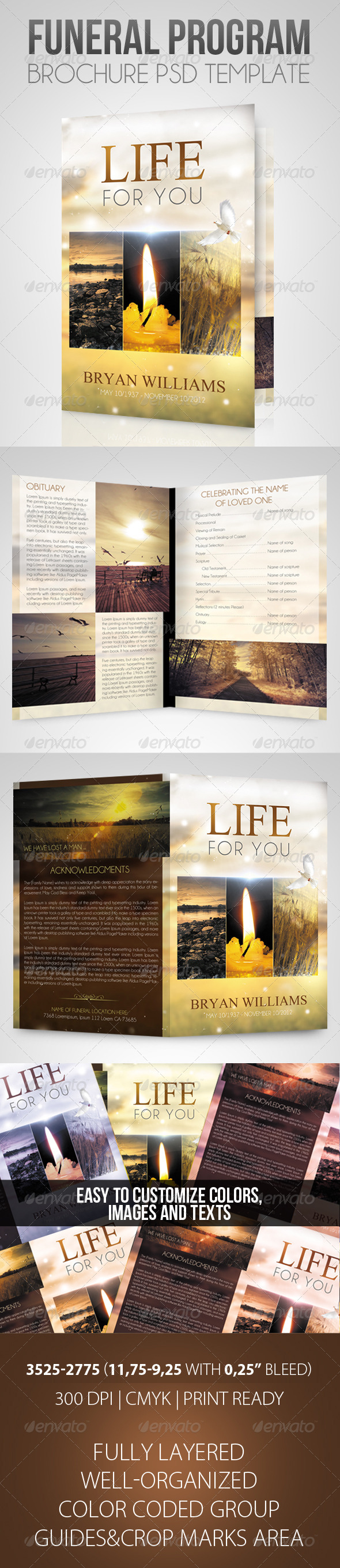 Life for you - Funeral Program Brochure Template - Brochures Print Templates