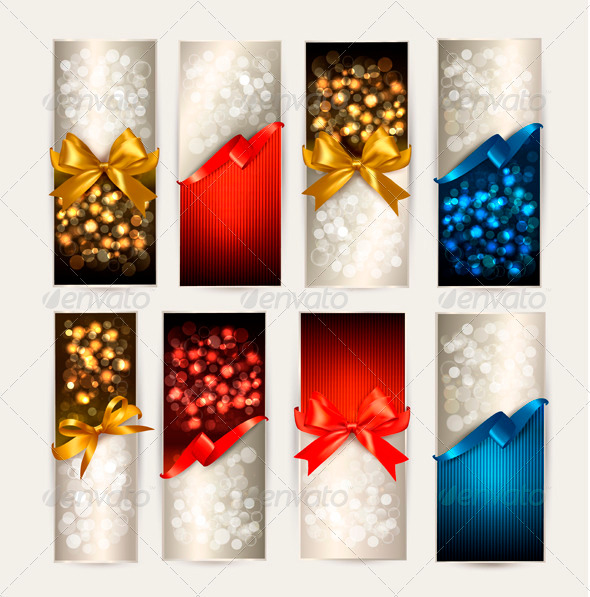 Set of Colorful Gift Cards with Gift Bows