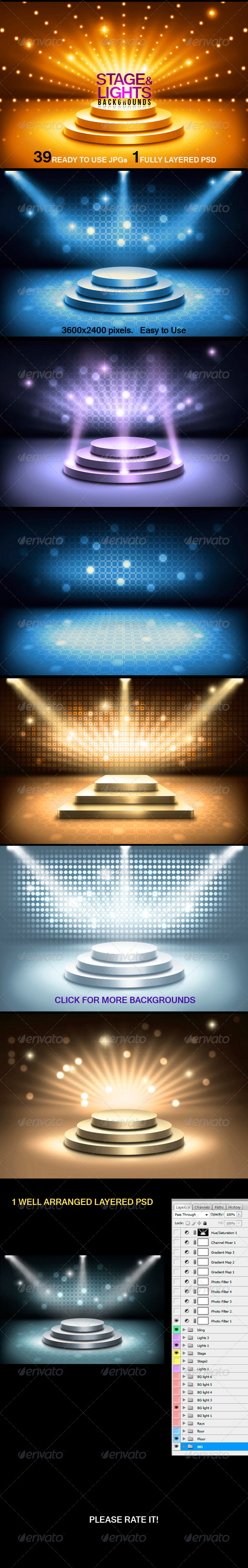 GraphicRiver Stage and Lights Backgrounds 3582792